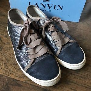 Lanvin Cap Toe Dk.Silver Snakeskin Sneakers sz. 38
